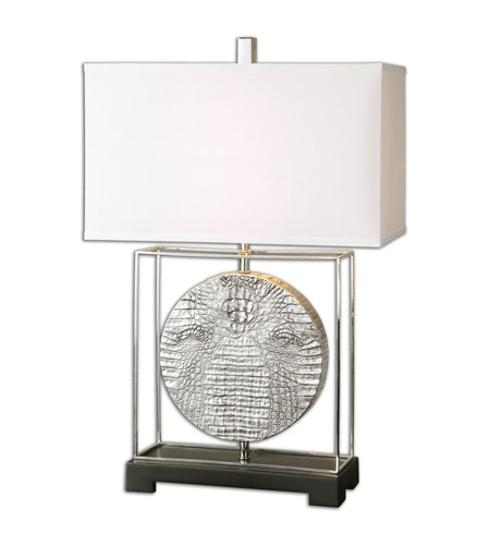 Uttermost 26181-1 Taratoare 29 inch 100 watt Metallic Silver Table Lamp Portable Light photo thumbnail