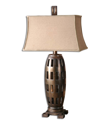 Uttermost Elton Table Table Lamp in Metallic Chocolate-Bronze Porcelain Body 26271 photo