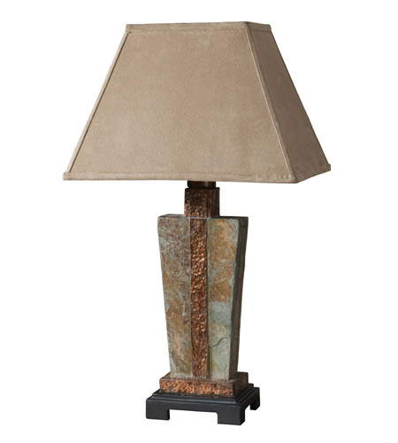 Uttermost 26322-1 Slate 29 inch 100 watt The Base Is Made Of Real Hand Carved Slate Table Lamp Portable Light photo thumbnail