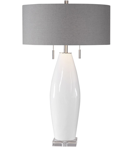 Uttermost 26409 Laurie 30 inch 60 watt White Glaze with Brushed Nickel and Crystal Table Lamp Portable Light photo thumbnail