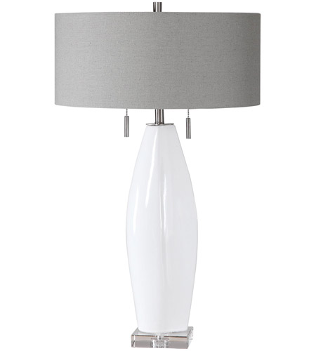 Uttermost 26409 Laurie 30 inch 60 watt White Glaze with Brushed Nickel and Crystal Table Lamp Portable Light alternative photo thumbnail