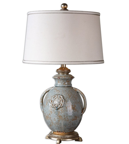 Uttermost Blue Glaze Fabric Table Lamps