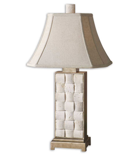 Uttermost Travertine Table Lamp in Travertine Stone and Antiqued Silver 26512 photo