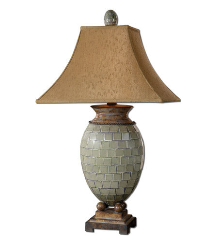 Uttermost Kayson Table Lamp in Pale Blue Green Mosaic Tiles 26516 photo