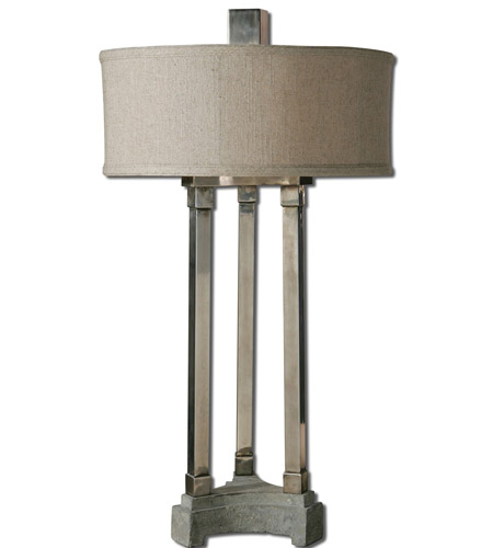 Uttermost Risto 2 Light Table Lamp in Brushed Aluminum 26542-1