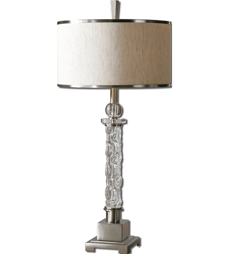 Uttermost 26762-1 Campania 35 inch 150 watt Brushed Aluminum Table Lamp Portable Light photo