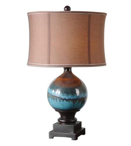 Uttermost 26825 1 Padula 29 Inch 150 Watt Glossy Blue Ceramic Table