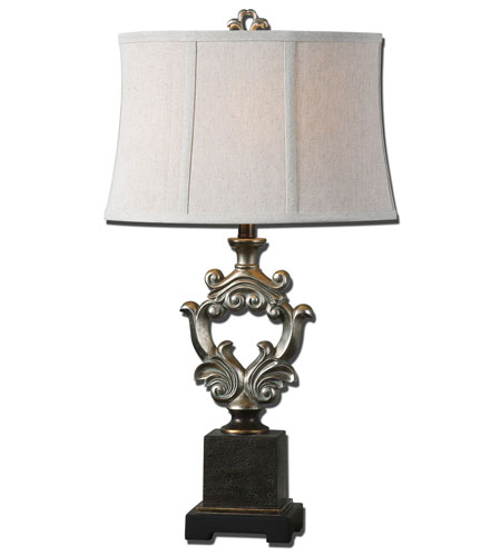 Uttermost Stronetta 1 Light Table Lamp in Antiqued Silver Leaf 26839