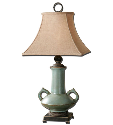 Uttermost Vamano 1 Light Table Lamp in Distressed Antiqued Sea-Foam Glaze 26853