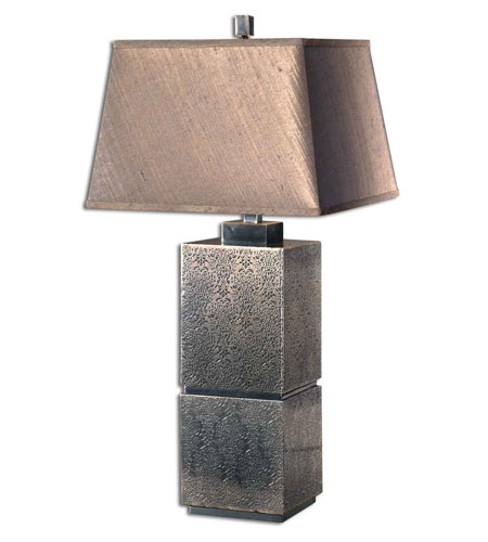 Uttermost Zara Table Lamp in Lightly Antiqued Embossed Tin 26975 photo