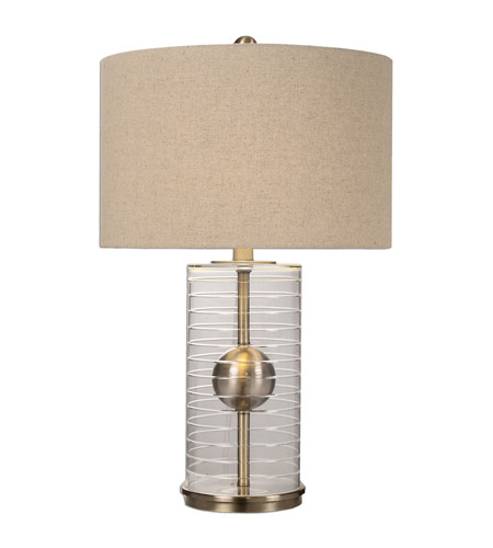 Uttermost 27080-1 Tupelo 28 inch 150 watt Plated Brushed Brass Lamp Portable Light