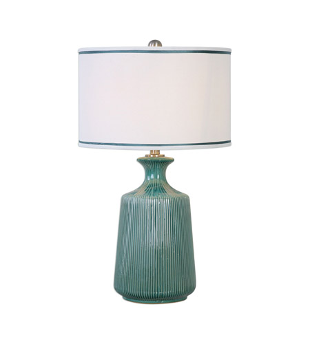 Molleres 28 Inch 150 Watt Teal Ceramic Table Lamp Portable Light