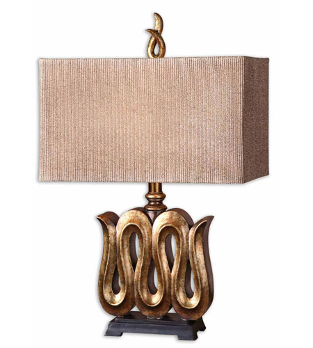 Uttermost Serpente Table Lamp in Heavily Antiqued Gold Leaf 27364-1
