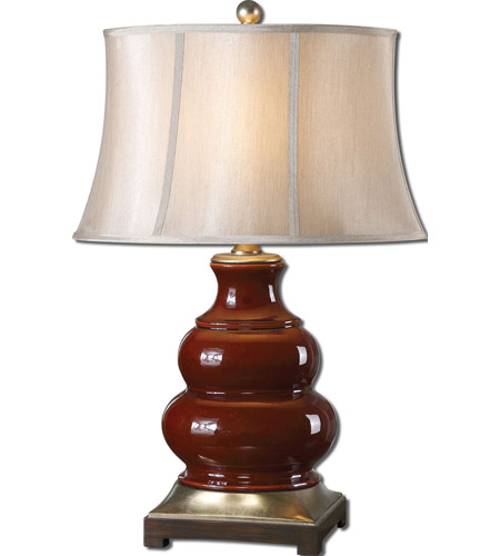 Uttermost Villalago 1 Light Table Lamp in Glossy Deep Maroon 27426 photo