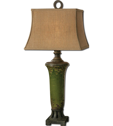 Uttermost Olea 1 Light Table Lamp in Distressed Crackled Green 27436
