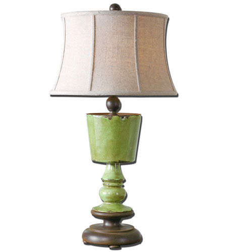 Uttermost Romano 1 Light Table Lamp in Heavily Antiqued Crackle Green Glaze 27497