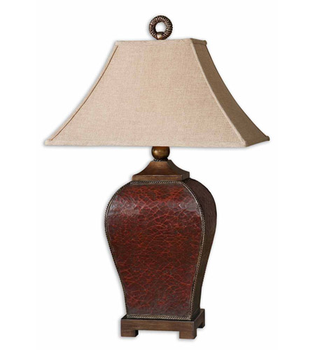 Uttermost 27662 Patala 33 Inch 150 Watt Heavily Led Deep Red Table Lamp Portable Light Photo