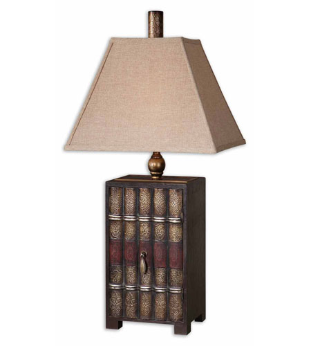 Uttermost Book Collection Table Lamp in Embossed Faux Leather 27666 photo