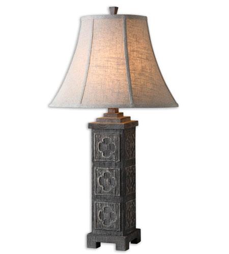 27686 >> Uttermost Bartolo Table Lamp In Distressed Ash Gray Wash 27686