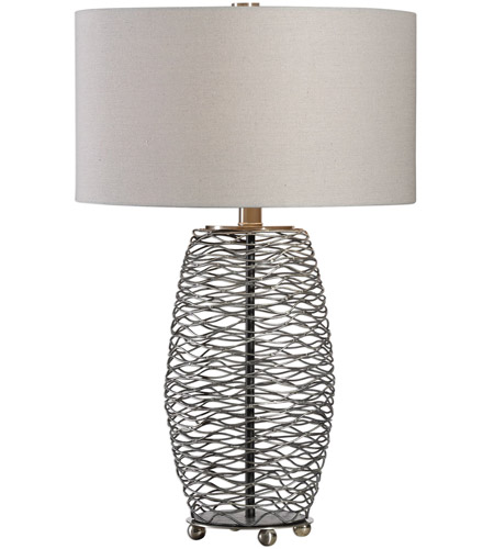 Uttermost 27768-1 Sinuous 28 inch 150 watt Wavy Steel Mesh Table Lamp Portable Light