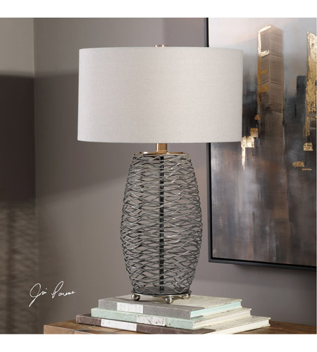 Uttermost 27768-1 Sinuous 28 inch 150 watt Wavy Steel Mesh Table Lamp Portable Light 27768-1_Lifestyle.jpg