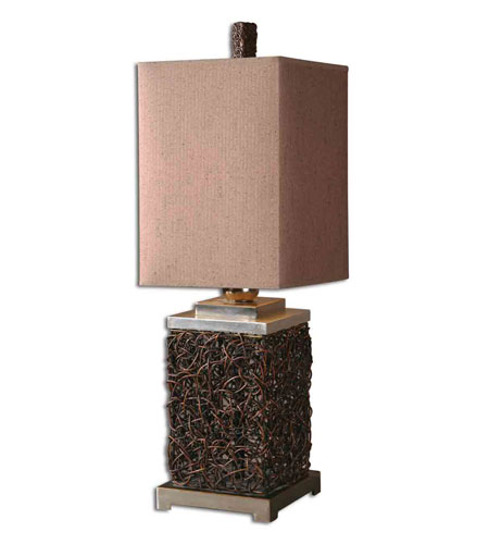 Uttermost Knotted Rattan Rectangle Table Lamp in Natural Rattan Vine 27797-1 photo
