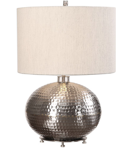 Uttermost 27821-1 Metis 22 inch 150 watt Hammered Steel Table Lamp Portable Light