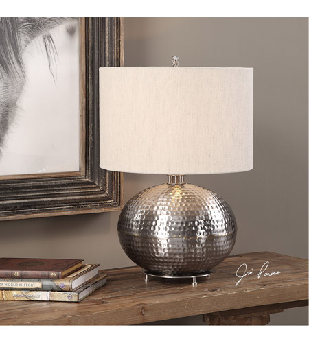 Uttermost 27821-1 Metis 22 inch 150 watt Hammered Steel Table Lamp Portable Light 27821-1_Lifestyle.jpg