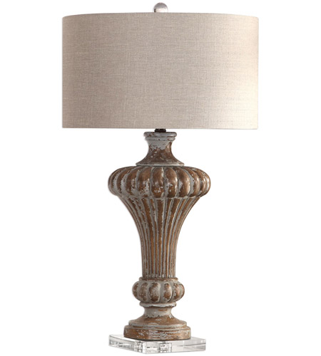 Uttermost 27863 Treneece 32 inch 150 watt Aged Pecan with Antique Gray Wash Table Lamp Portable Light 27863_A.jpg