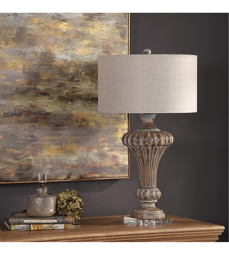 Uttermost 27863 Treneece 32 inch 150 watt Aged Pecan with Antique Gray Wash Table Lamp Portable Light 27863_A1.jpg