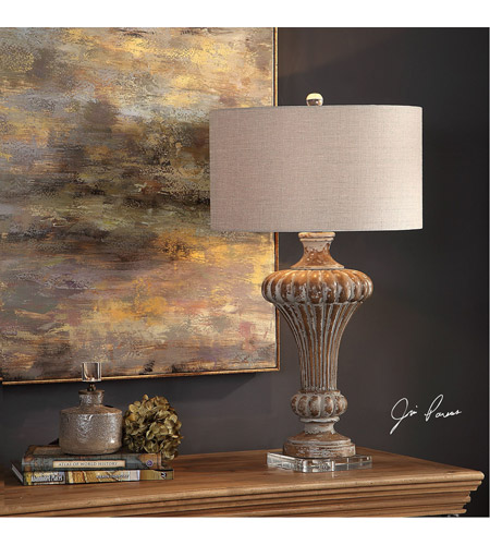 Uttermost 27863 Treneece 32 inch 150 watt Aged Pecan with Antique Gray Wash Table Lamp Portable Light 27863_Lifestyle.jpg