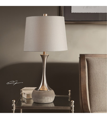 Uttermost 27875-1 Niah 28 inch 150 watt Brushed Nickel and Natural Concrete Table Lamp Portable Light 27875-1_Lifestyle.jpg