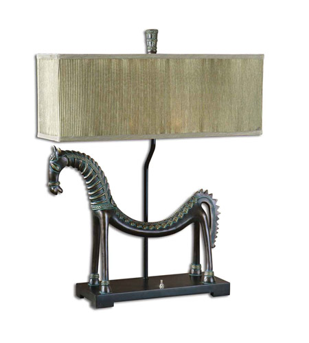 Uttermost Tamil Horse Table Table Lamp in Heavily Antiqued Gold Leaf 27907-1 photo