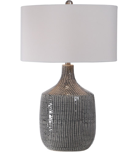Uttermost 27920-1 Felipe 29 inch 150 watt Distressed Gray Glaze and Brushed Nickel Table Lamp Portable Light photo thumbnail