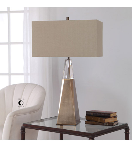 Uttermost 27932 Priam 31 inch 150 watt Antiqued Brass and Elegant Cut Crystal Table Lamp Portable Light 27932_Lifestyle.jpg
