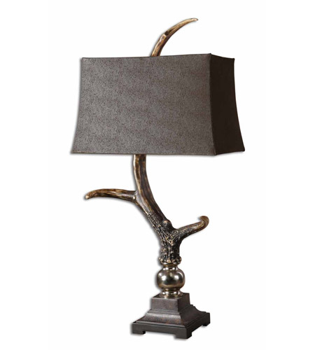Uttermost Stag Horn Dark Shade Table Lamp in Burnished Bone Ivory 27960 photo