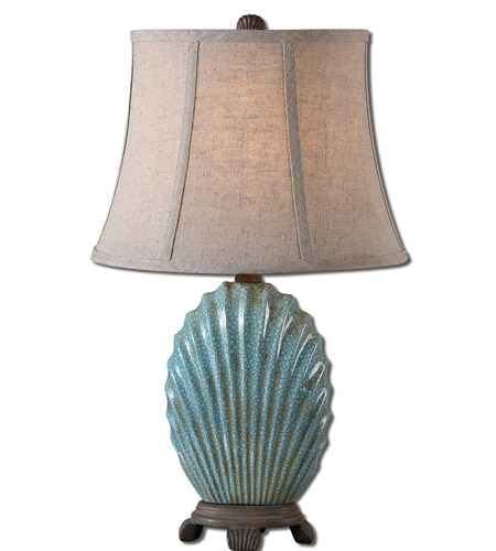 Uttermost 29321 Seashell 23 inch 60 watt Crackled Blue Glaze Table Lamp Portable Light