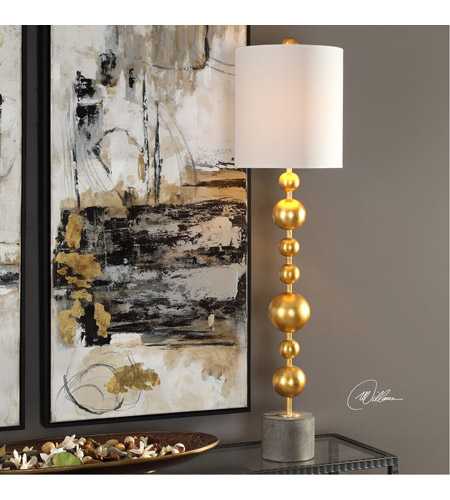 Uttermost 29566-1 Selim 40 inch 150 watt Metallic Gold Leaf and Charcoal Stained Concrete Buffet Lamp Portable Light 29566-1-Lifestyle.jpg