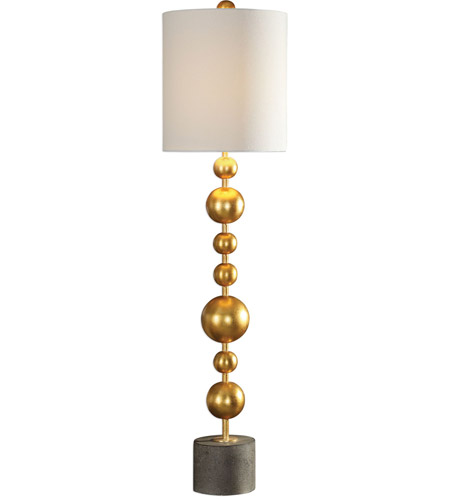Uttermost 29566-1 Selim 40 inch 150 watt Metallic Gold Leaf and Charcoal Stained Concrete Buffet Lamp Portable Light photo