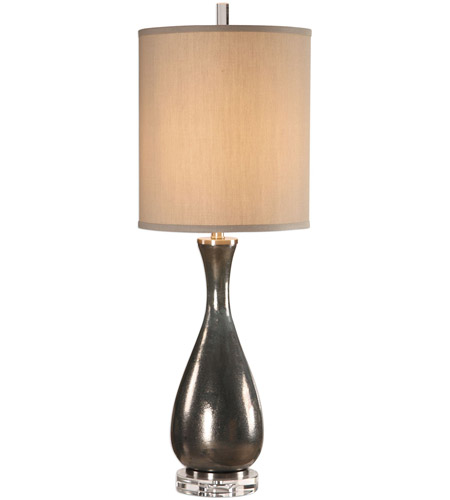 Metallic Bronze and Crystal Table Lamps