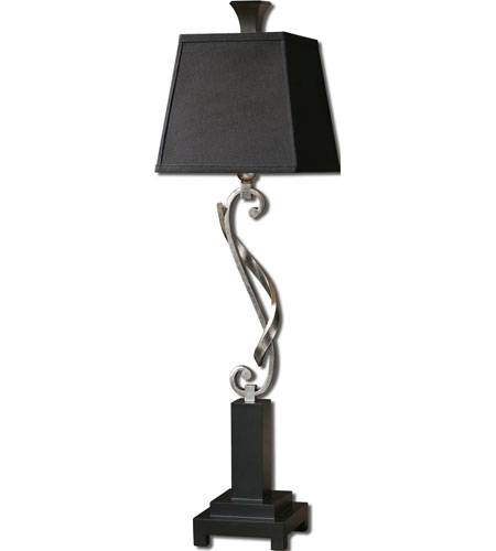 Uttermost Tafeta 1 Light Table Lamp in Silver Leaf 29660
