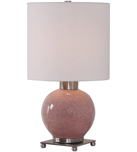 Uttermost 29667-1 Rhoda 21 inch 150 watt Mottled Soft Pink Glaze and Brushed Nickel Buffet Lamp Portable Light