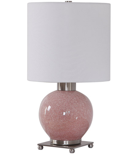Uttermost 29667-1 Rhoda 21 inch 150 watt Mottled Soft Pink Glaze and Brushed Nickel Buffet Lamp Portable Light 29667-1_A.jpg