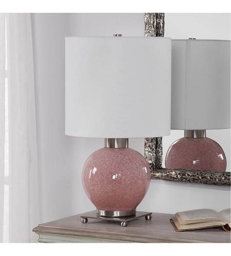 Uttermost 29667-1 Rhoda 21 inch 150 watt Mottled Soft Pink Glaze and Brushed Nickel Buffet Lamp Portable Light 29667-1_A1.jpg
