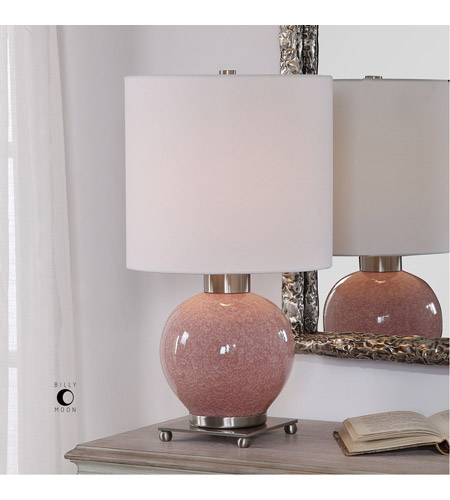 Uttermost 29667-1 Rhoda 21 inch 150 watt Mottled Soft Pink Glaze and Brushed Nickel Buffet Lamp Portable Light 29667-1_Lifestyle.jpg