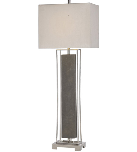 Uttermost 29678-1 Sakana 38 inch 150 watt Rubbed Gray Faux Shagreen and Polished Nickel Buffet Lamp Portable Light