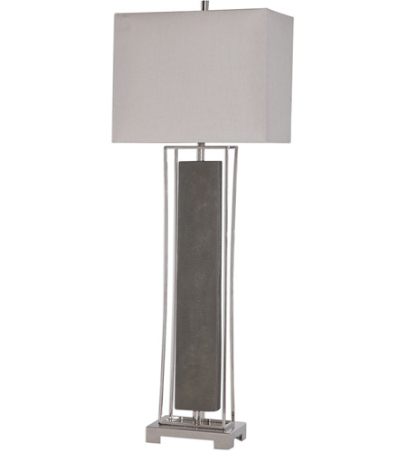 Uttermost 29678-1 Sakana 38 inch 150 watt Rubbed Gray Faux Shagreen and Polished Nickel Buffet Lamp Portable Light 29678-1_A.jpg