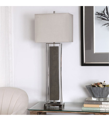 Uttermost 29678-1 Sakana 38 inch 150 watt Rubbed Gray Faux Shagreen and Polished Nickel Buffet Lamp Portable Light 29678-1_A1.jpg