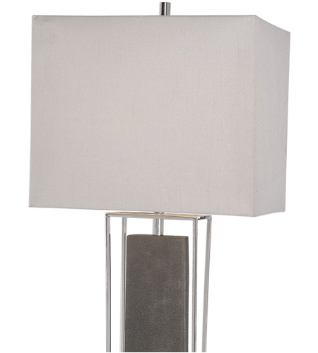 Uttermost 29678-1 Sakana 38 inch 150 watt Rubbed Gray Faux Shagreen and Polished Nickel Buffet Lamp Portable Light 29678-1_A2.jpg