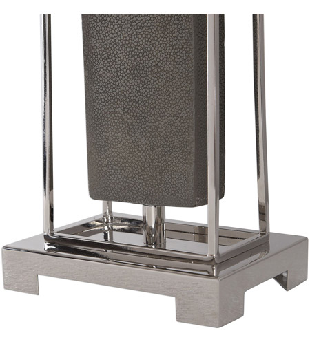 Uttermost 29678-1 Sakana 38 inch 150 watt Rubbed Gray Faux Shagreen and Polished Nickel Buffet Lamp Portable Light 29678-1_A3.jpg